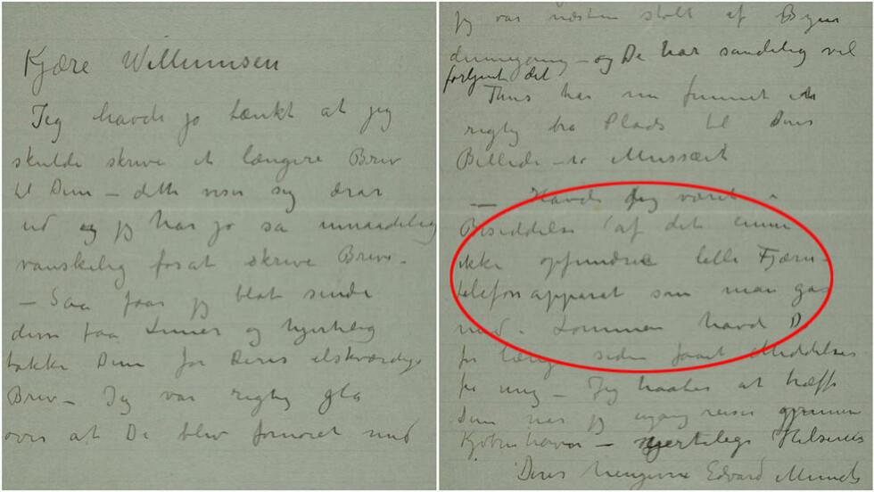 FORUT FOR SIN TID? I dette brevet, datert til 1910, nevner Munch et «ikke ennå oppfunnet lite fjerntelefonapparat som man går med i lommen». 73 år seinere kom mobiltelefonen. Foto: Munchmuseet v/ eMunch.no