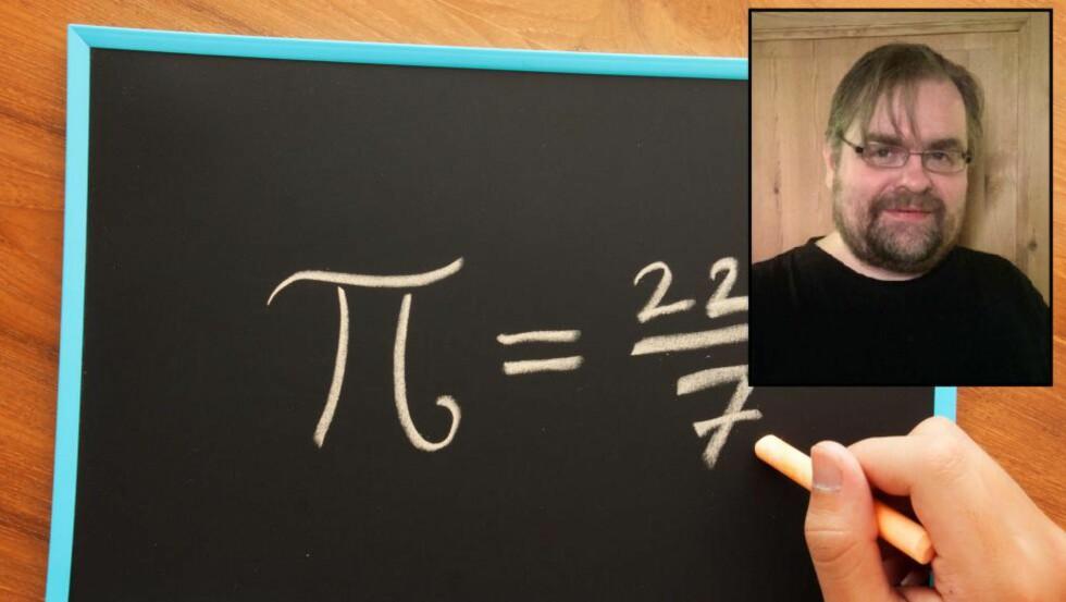 NORGESREKORD: Tallet 3,14 eller brøken 22/7 brukes gjerne som tilnærming til pi. Bjørn Vidar Næss stanset ikke der. Han har pugget pi-desimaler til den store gullmedalje. Foto: Privat / NTB Scanpix