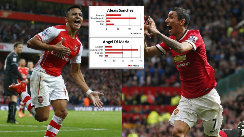 BEDRE: Statistikken viser at Alexis Sanchez er bedre enn Angel Di Maria. Foto: NTB Scanpix