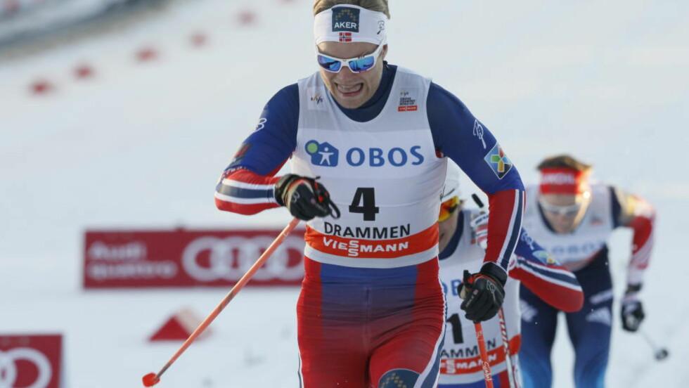 BLANDET SESONG: Eirik Brandsdal vant sprinten i Drammen i dag. Men det holdt ikke til det store målet - å vinne sprintcupen sammenlagt. Foto: Halvor Solhjem Njerve