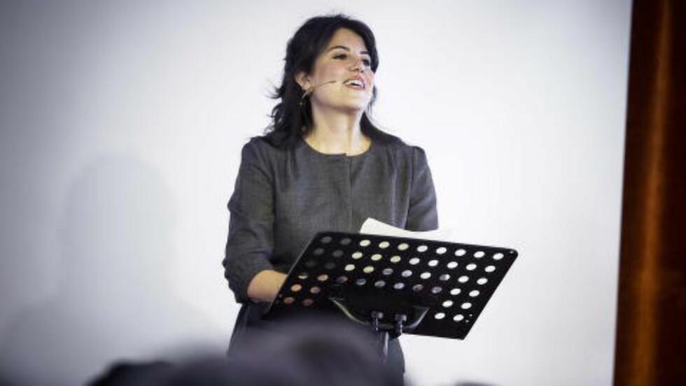I Norge:  Monica Lewinsky  holder foredrag i Horten om nettmobbing. Foto: Bjørn Langsem / Dagbladet