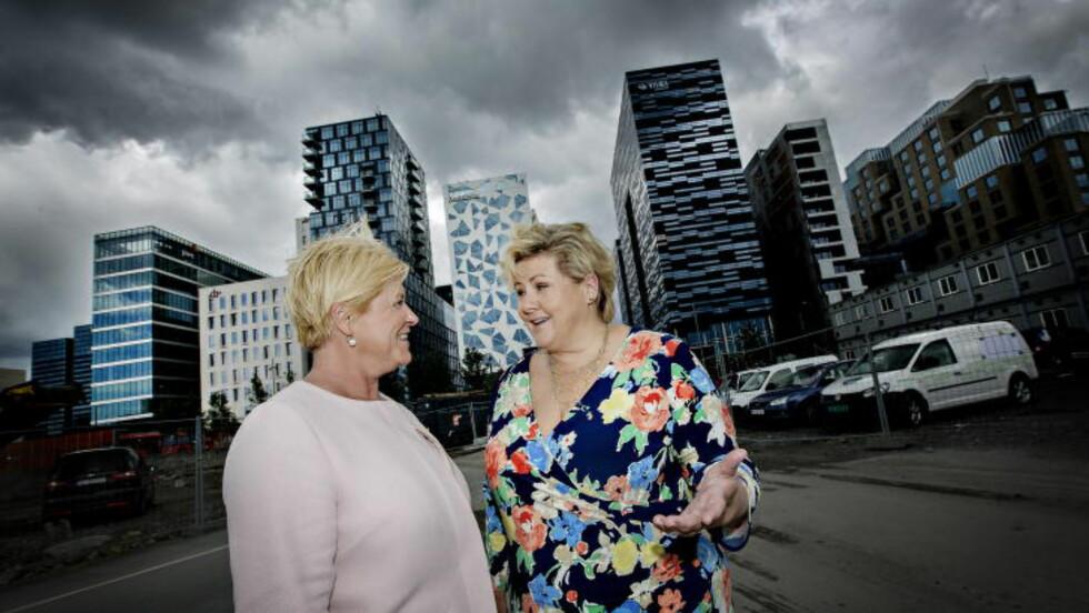 SKATTEKUTT: Ledigheten kan stige før de nye arbeidsplassene er på plass, men omstillingen av norsk økonomi er helt nødvendig, sier Erna Solberg og SIv Jensen. Foto: Anita Arntzen / Dagbladet
