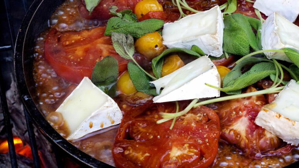 TURMAT: Tomatpanne med salvie.   Foto: Mette Møller