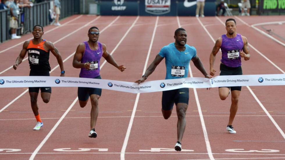 <strong>NY PERS:</strong> Kontroversielle Justin Gatlin satte ny personlig rekord da han løp inn til 19,57 på 200-metersfinalen i det amerikanske friidrettsmesterskapet søndag. Bare fire har løpt raskere enn amerikaneren. Foto: Kirby Lee-USA TODAY Sports