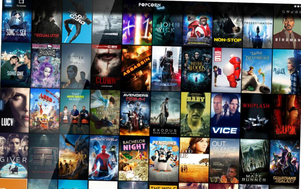 """ENKELT: Slik ser forsiden på Popcorn Time ut i dag. Det er bare å laste ned programmet og trykke """"play"""" - der du tidligere måtte styre med å finne filer på torrent-nettverk og laste dem ned på din pc, gjør Popcorn Time det enklere enn noensinne å se piratfilm på nettet."""