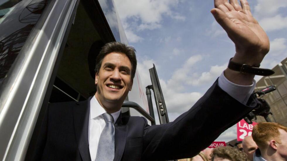 FRAMMARSJ: Det britiske arbeiderpartiet rykker ifra de konservative få uker før valget i Storbritannia, viser en fersk meningsmåling.  Foto: AFP PHOTO / JUSTIN TALLIS