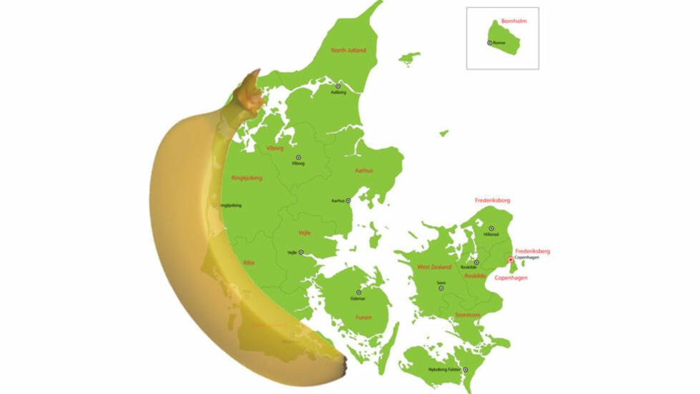 PEST I VEST:  «Den råtne banan» er et begrep i dansk politikk på grunn av fraflyttingen fra den bananformede vestkysten. Norsk distriktspolitikk, derimot, har danske forskere en ganske annen forståelse av, også i forhold til de høyeste rlstene i norsk debatt. Illustrasjon: Colourbox / Stian Haraldsen, Dagbladet