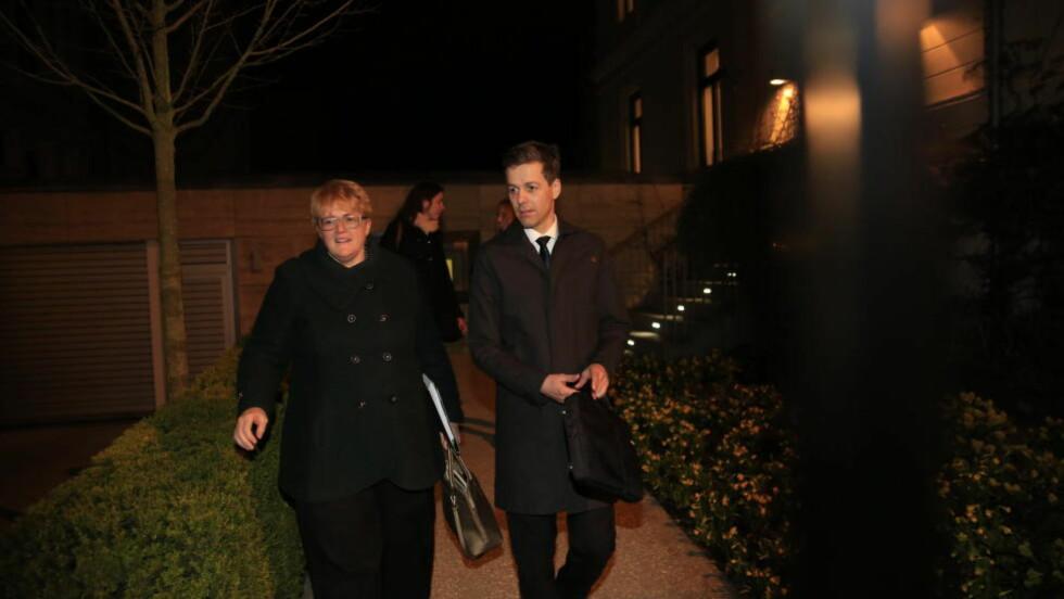 INGEN ENIGEHET: Men Knut Arild Hareide sier samarbeidsklimaet var godt inne hos statsministeren tirsdag kveld. Foto: Nina Hansen