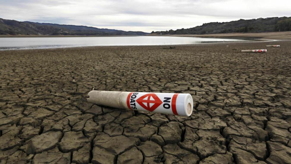 SNART HELT BORTE: Situasjonen er anspent i California, der ekstremtørken holder på på fjerde året. Her ved Lake Mendocino nær Ukiah i California Foto: AP Photo/Rich Pedroncelli/NTB Scanpix