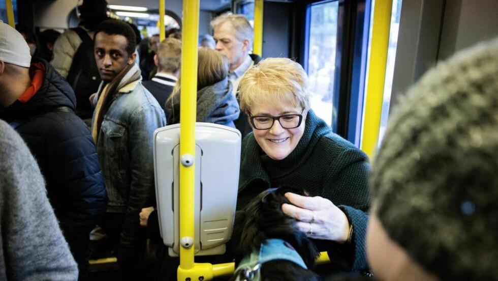 Reiser kollektivt:  Trine Skei Grande liker å møte både mennesker og hunder på vei til jobben. Selv deler hun leilighet med to katter. - Det er fortsatt ingen menn som har meldt seg, smiler hun.