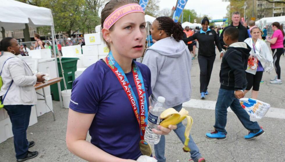 MARATONLØPEREN SOM FORSVANT:  Ut av ingenting dukket Kendall Schler opp på oppløpssiden av Go! St. Louis Marathon. Men underveis var hun verken registrert eller observert. Gullmedaljen fikk hun ikke beholde lenge. Foto: Polaris Media