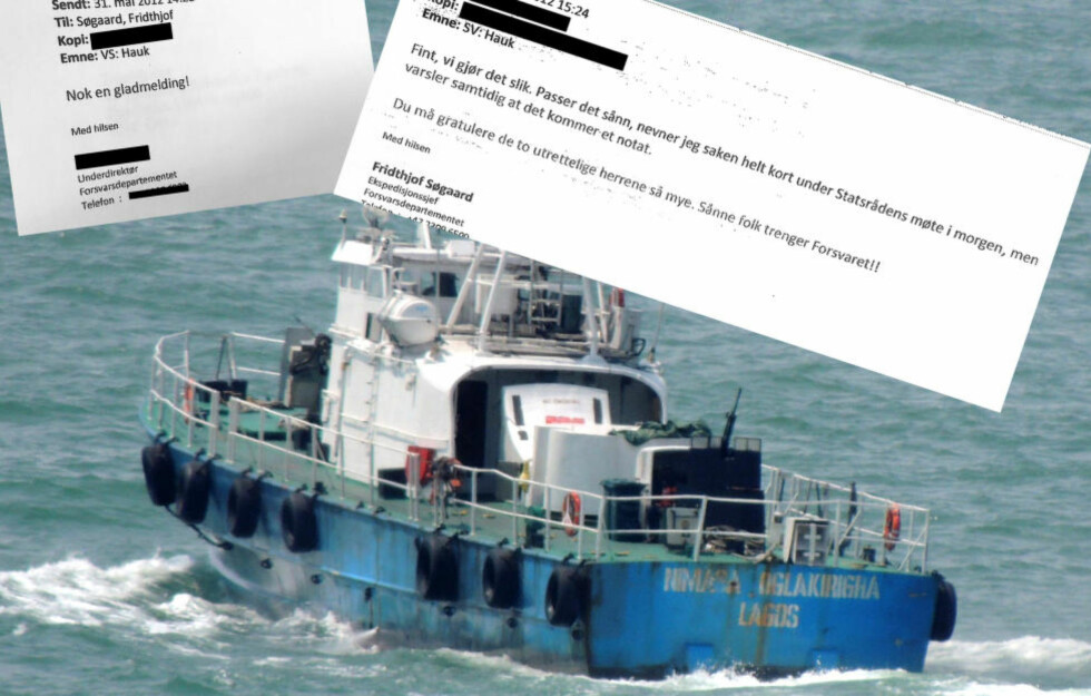 VAR NORSK: De seks MTB`ene som ble solgt av Forsvaret en nå patruljebåter for den nigerianske krigsherren Government «Tompolo» Ekpemupolo. Han bruker den i et oppdrag han har for i den paramilitære kystvakten NIMASA. Det er montert mitraljøser både forran og akter på båten.  Foto: Privat