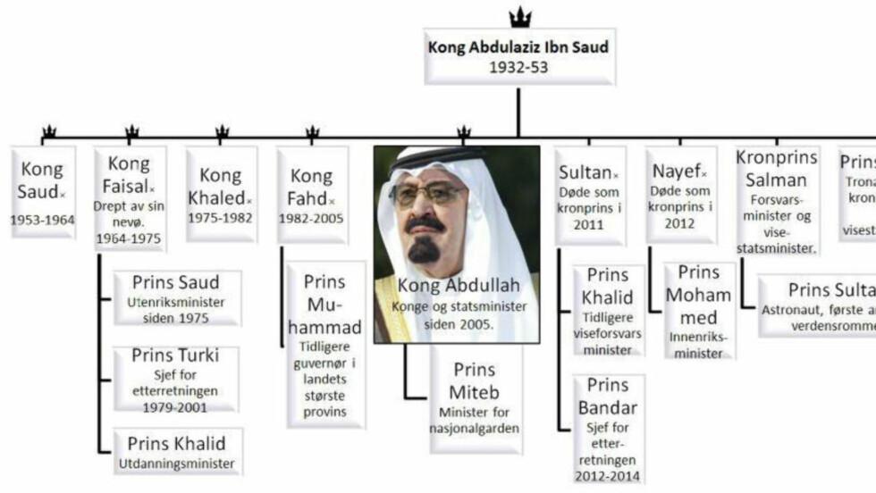 DELER AV SLEKSTREET: Saudi-Arabias kongefamilie er enorm. Kong Ibn Saud (øverst), som regnes som grunnleggeren av den moderne saudiarabiske stat, skal ha hatt 22 koner og fått over 30 sønner (andre rekke). Sønnen Kong Adbullah døde i år og kong Salman bin Abdulaziz overtok som konge. Nå er det barnebarnet Mohammed bin Nayef som er blitt utnevnt til ny kronprins og arvtaker til tronen. Foto: Reuters, Grafikk: Dagbladet