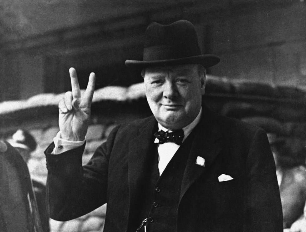 TOPPKARAKTER: Winston Churchill får topp-plassering av forfatterne av en ny bok om britiske statsministre siden 1900, Hans Olav Lahlum og Øivind Bratberg. Foto: NTB Scanpix / AP