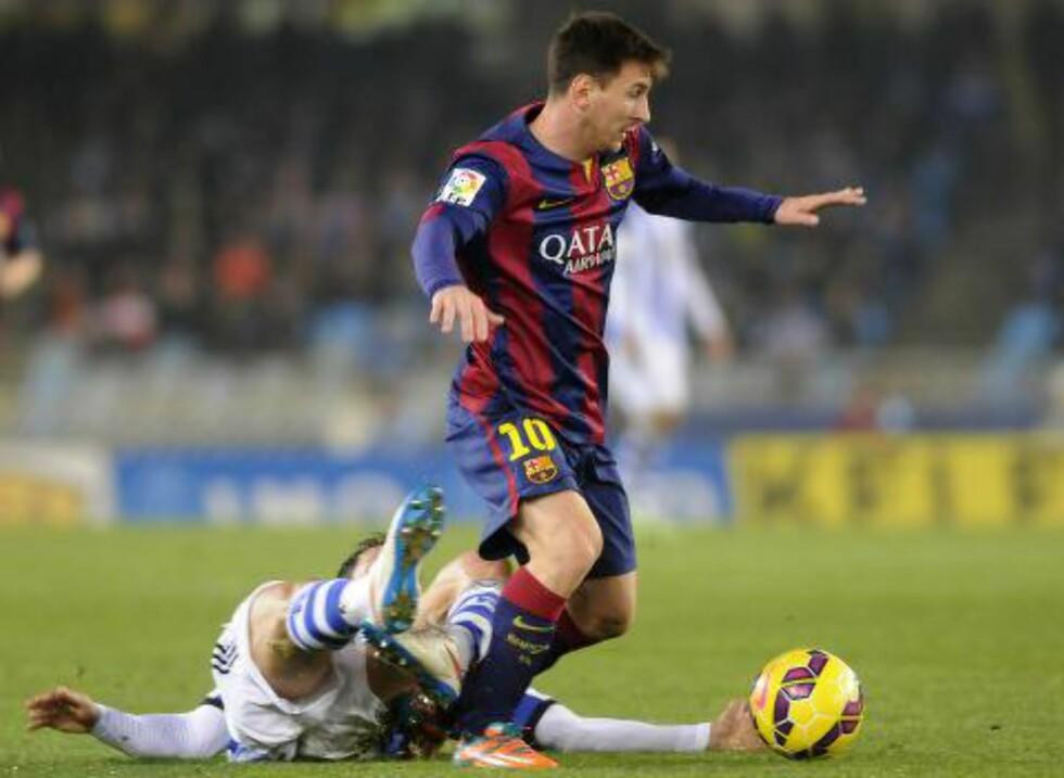 BLE HVILT: Lionel Messi spilte de siste 45 minuttene, uten å påvirke resultatet. AFP PHOTO/ ANDER GILLENEA