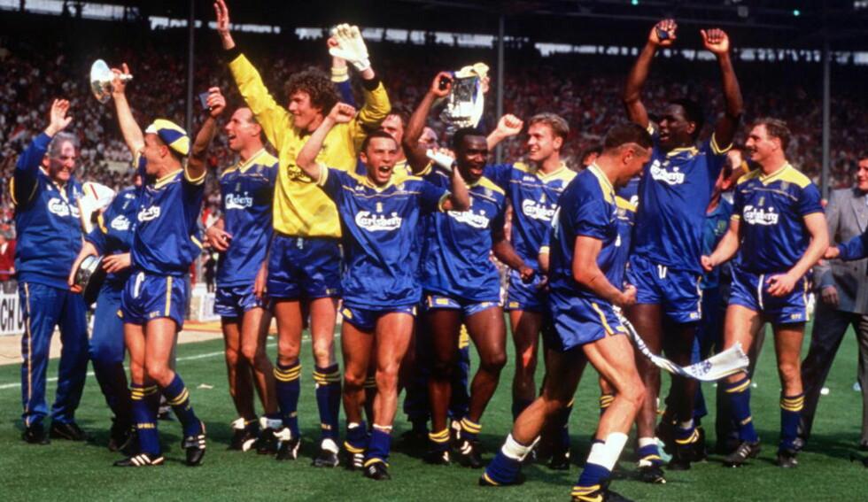 DEN GÆRNE GJENGEN: Hvor redde ble Liverpool i minuttene før avspark da de møtte Wimbledon i 1988? I forkant av 3. rundemøtet mellom AFC Wimbledon og Liverpool går nå debatten i engelske medier. Foto: David Cannon / Allsport