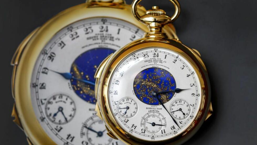 MÅ STILLES: Disse Patek Philippe-klokkene fra 1932 må stilles til sommeren. Foto: AFP / FABRICE COFFRINI / NTB scanpix