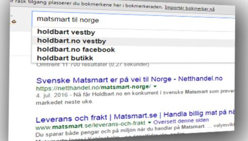 """KONKURRANSE: Google har fått med seg den nye konkurransesituasjonen. Googler du """"Matsmart til Norge"""", kommer den norske konkurrenten Holdbart opp.  Skjermdump: DAGBLADET"""