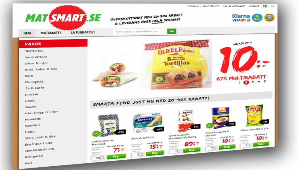 SVENSK NETTSUKSESS: Matsmart selger overskuddsmat som ellers ville blitt kastet. Nå utvides virksomheten til Norge. Skjermdump: DAGBLADET