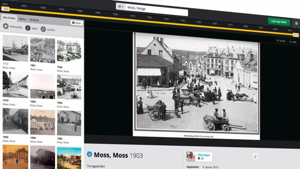 GAMLE BILDER: Dette bildet viser Moss for hundre år siden. Foto: TIDSMASKINEN.NO