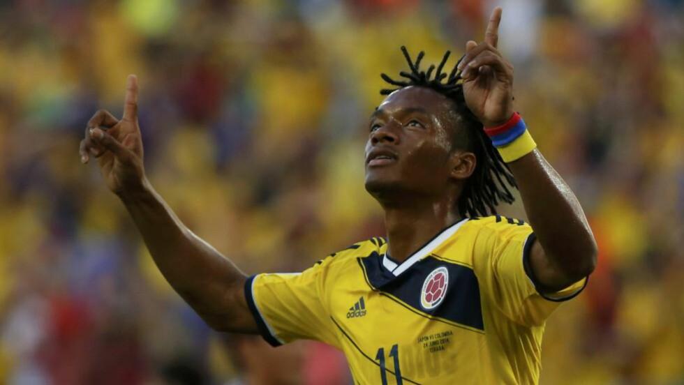 ØNSKET:  Juan Cuadrado imponerte for Colombia under VM i Brasil. Nå ønsker Jose Mourinho å sikre seg Fiorentina-vingen. Foto:  REUTERS/Jorge Silva/NTB Scanpix.