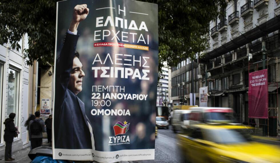 SPENNENDE VALG: Protestbevegelsen Syriza ligger an til å vinne valget i Hellas i søndag. Det kan få ringvirkninger over hele Europa. Foto: Reuters / NTB scanpix