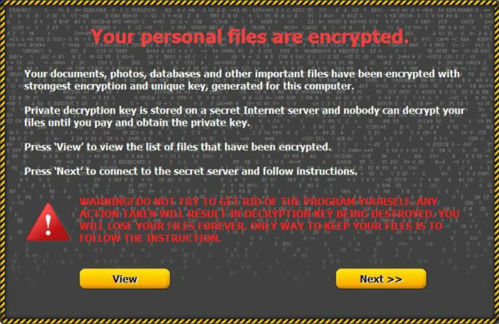 NYTT LØSEPENGEVIRUS: Slik ser det ut når viruset er lastet inn på PC-en. Den skadelige programvaren krypterer alle bilder og dokumenter, og det går ikke an å få tilgang til dem igjen uten et passord.