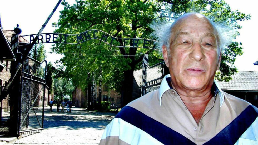 I AUSCHWITZ:  Julius Paltiel fra Trondheim var for noen år siden tilbake i utryddelsesleiren Auschwitz, der han tilbrakte nesten to år som fange og slavearbeider i. Nylig mottok han erstatning for de medisinske eksperimentene som han ble utsatt for. Foto: ASBJØRN SVARSTAD
