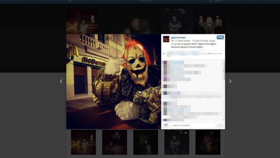 POPULÆR: Instagram-brukeren Gijonclown - klovnen fra Gijon - har på kort tid fått over 3000 følgere. Foto: Faksimile