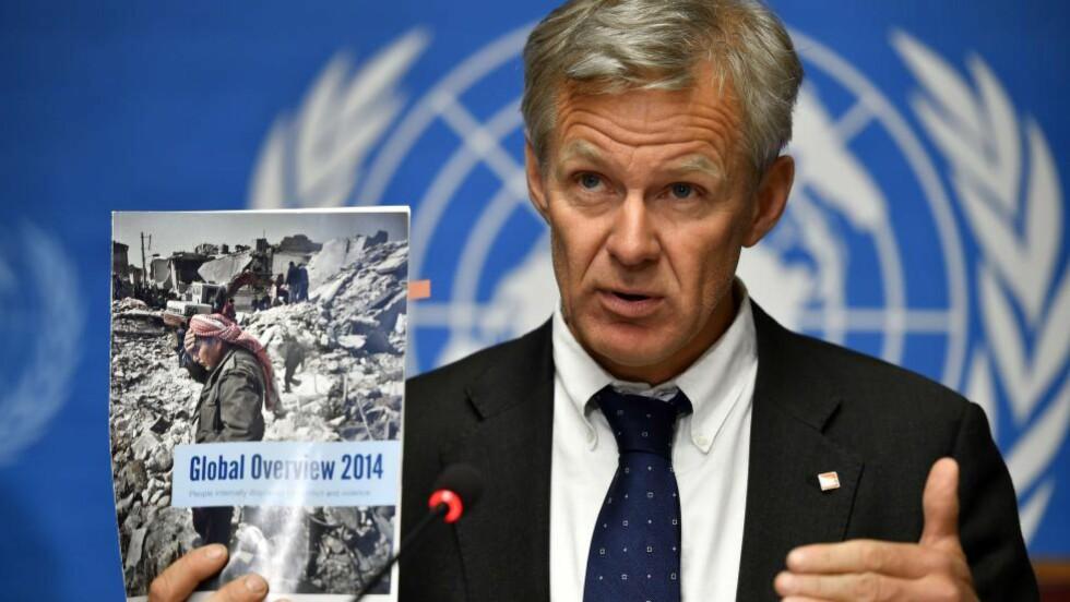 MÅ FORHANDLE: Nye tall fra FN viser at 10,8 millioner mennesker trenger nødhjelp i Syria. Generalsekretær i Flyktninghjelpen, Jan Egeland, mener hjelpeorganisasjoner er nødt til å forhandle med IS. Foto: AFP/Scanpix