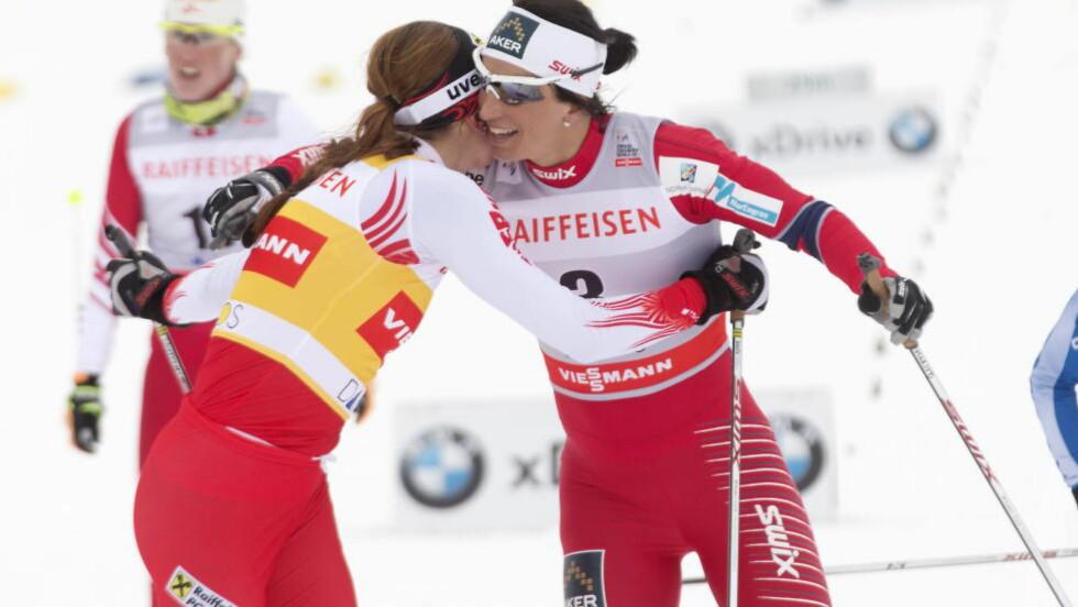 RESPEKTERER HVERANDRE: ... men Justyna Kowalczyk har fortsatt sine meninger om Marit Bjørgens bruk av astmamedisin. Foto: Terje Bendiksby / NTB scanpix