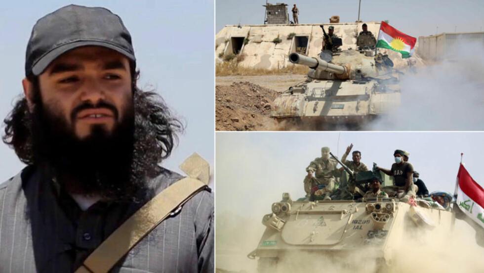 PÅ TRE SIDER:  Nordmenn har reist ned til Irak og Syria for å kjempe både med Den islamske stat (norske Bastian Vasques og IS-leder til venstre) og de kurdiske Peshmerga-styrkene (øverst til høyre). Nå sendes 120 norske soldater til Irak for å bistå kurdiske Peshmerga og den irakiske hæren (nederst til høyre) i kampen mot Den islamske stat. Foto: NTB Scanpix, Stringer / Reuters og Haidar Hamdani / AFP Photo