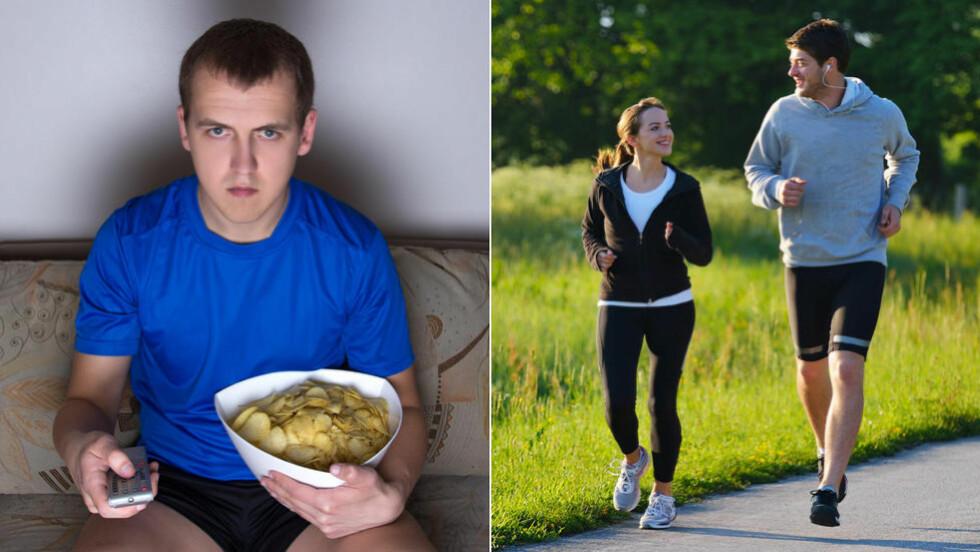LEVER LIKE LENGE:  Liker du å løpe langt og fort, er ikke det nødvendigvis det beste for din helse. En ny undersøkelse viser at dødligheten mellom sofaslitere og aktive joggere ikke er så ulik.  Illustrasjonsfoto: Colourbox.