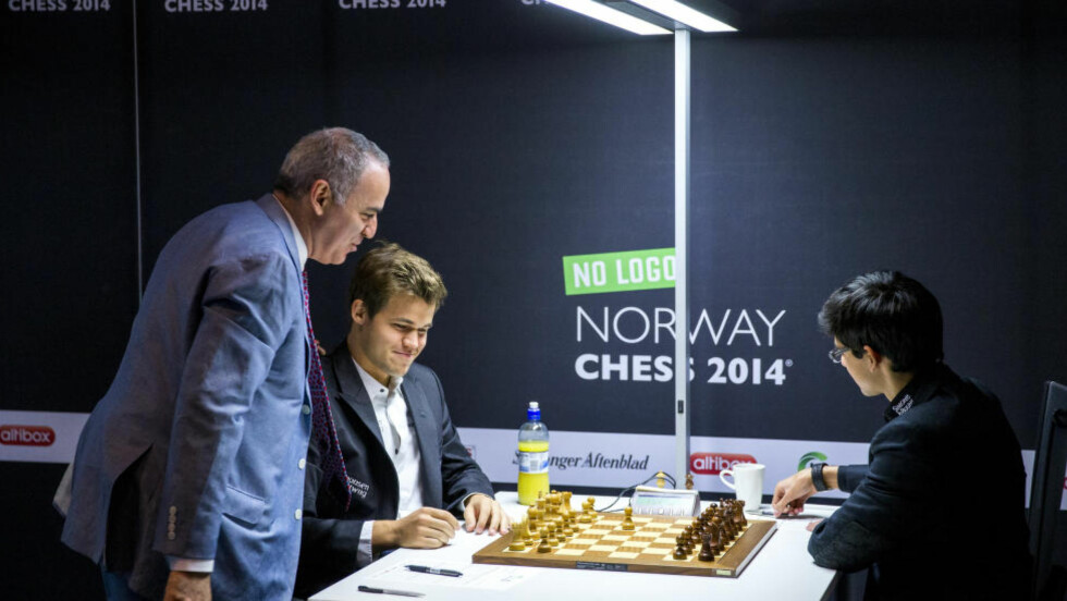 STORE PLANER: Garry Kasparov (til venstre) er mannen bak Chess Golden League hvor Magnus Carlsen og flere av verdens beste sjakkspillere skal kjempe i et nytt turneringskonsept. Foto: Erlend Aas / NTB scanpix