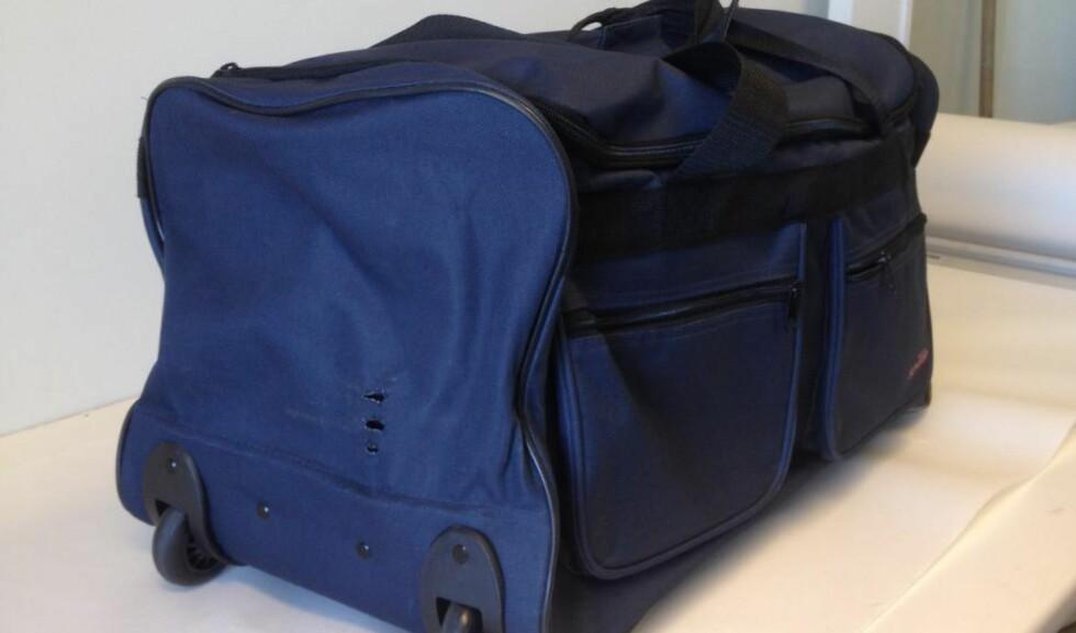 KOKAINBAG: Denne bagen full av kokain ble funnet på en hattehylle på toget mellom Göteborg og Oslo. Foto: Tollvesenet