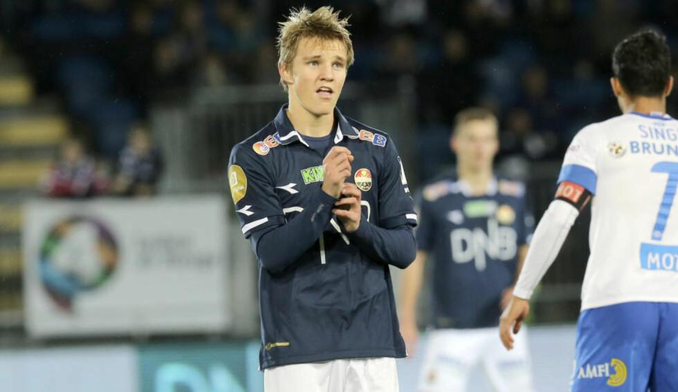ETTERTRAKTET: Martin Ødegaard har storspilt i Strømsgodset. Spansk presse hevder talentet var i Spania i dag. Foto: Terje Pedersen / NTB scanpix