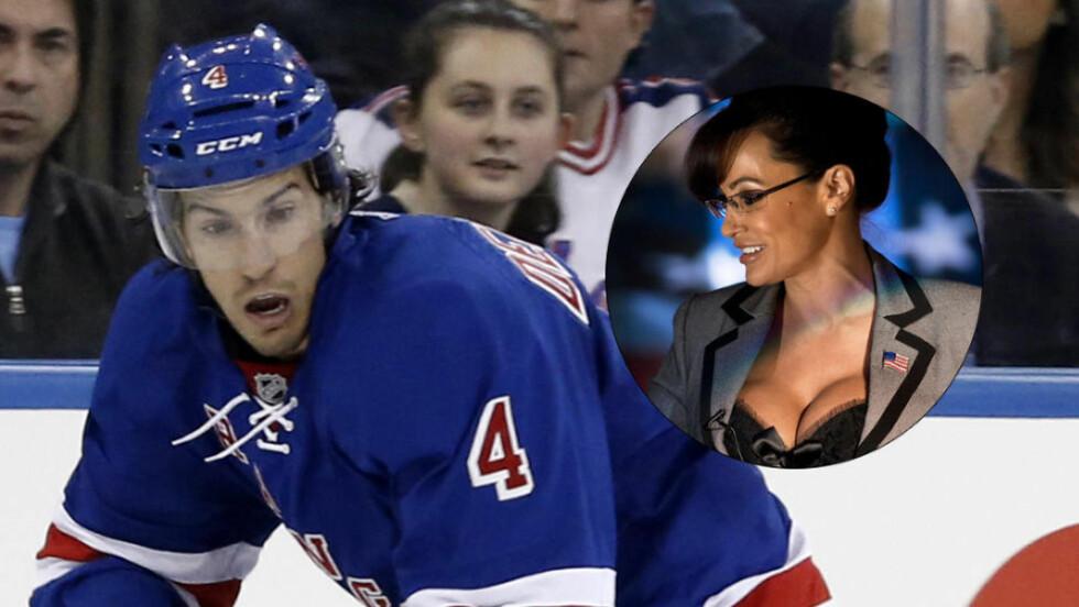 FÅR PEPPER: Ishockeystjerna Michael Del Zotto får refs av pornoskuespilleren Lisa Ann og NHL-proffen anklages får å stadig be Ann om å fikse stevnemøter. Foto: NTB Scanpix