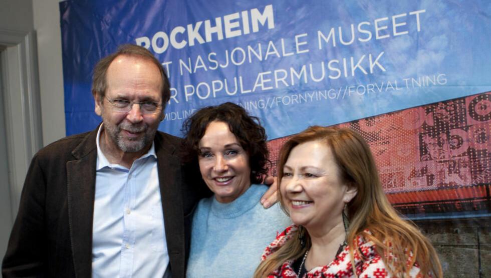 PÅ MUSEUM: Rockheim Hall of Fame 2015 har innlemmet Mari Boine (fra. høyre), Inger Lise Rypdal og Ole Paus. Jan Garbarek er også innlemmet, men den mediesky jazzmusikere ønsket ikke å delta på markeringen der navnene ble kjent i dag. Foto: Anders Grønneberg