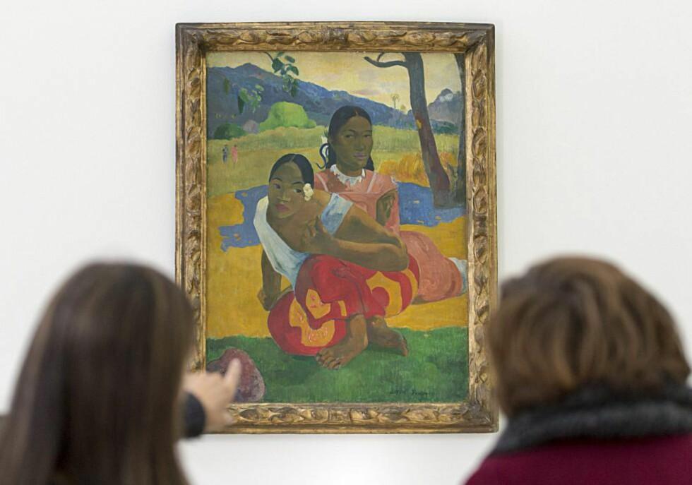 REKORDPRIS: Franske Paul Gauguins maleri «Nafea Faa Ipoipo?» - Når skal du gifte deg? - fra 1892, er solgt for nær tre milliarder kroner. Foto: EPA/GEORGIOS KEFALAS/NTB Scanpix