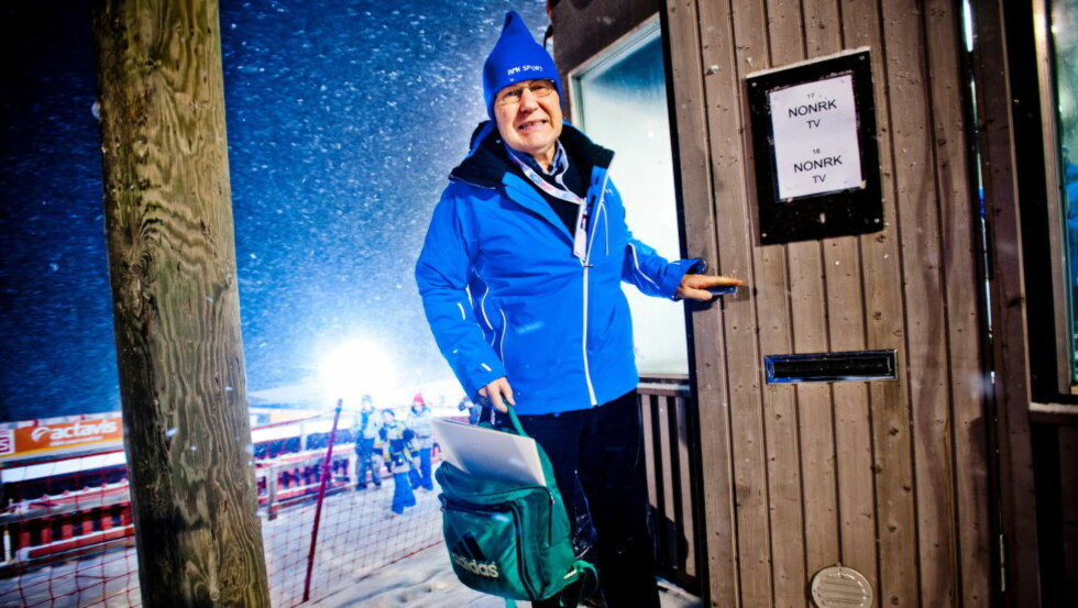 NRK-LEGENDE:  Arne Scheie, her fra da han kommenterte en renn i Finland i 2011. Foto:  Thomas Rasmus Skaug