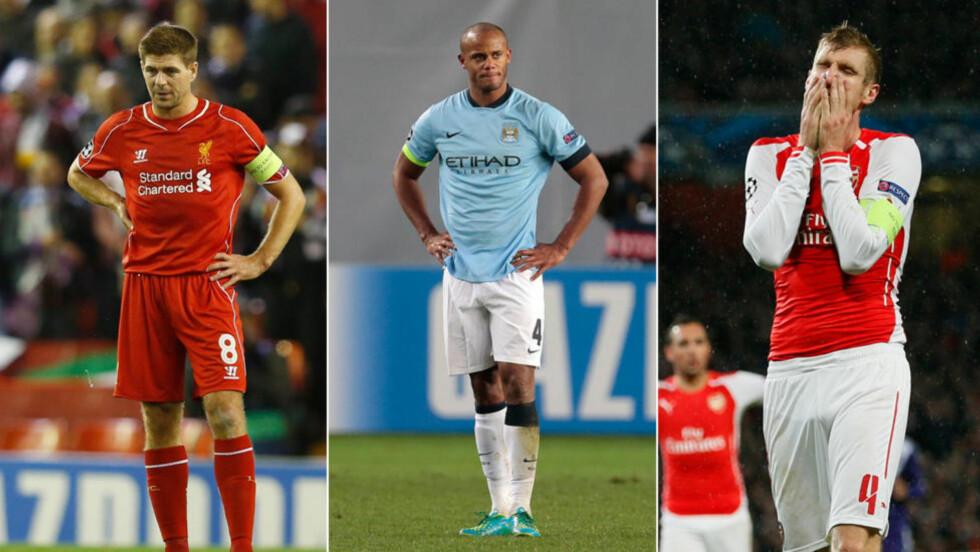 I BESTE FALL TO: Verken Liverpool, Manchester City eller Arsenal ser ut til å kapre gruppeseieren i sine respektive Champions League-grupper. Det er dårlig nytt med tanke på avansement videre fra åttedelsfinalen. Foto: NTB Scanpix