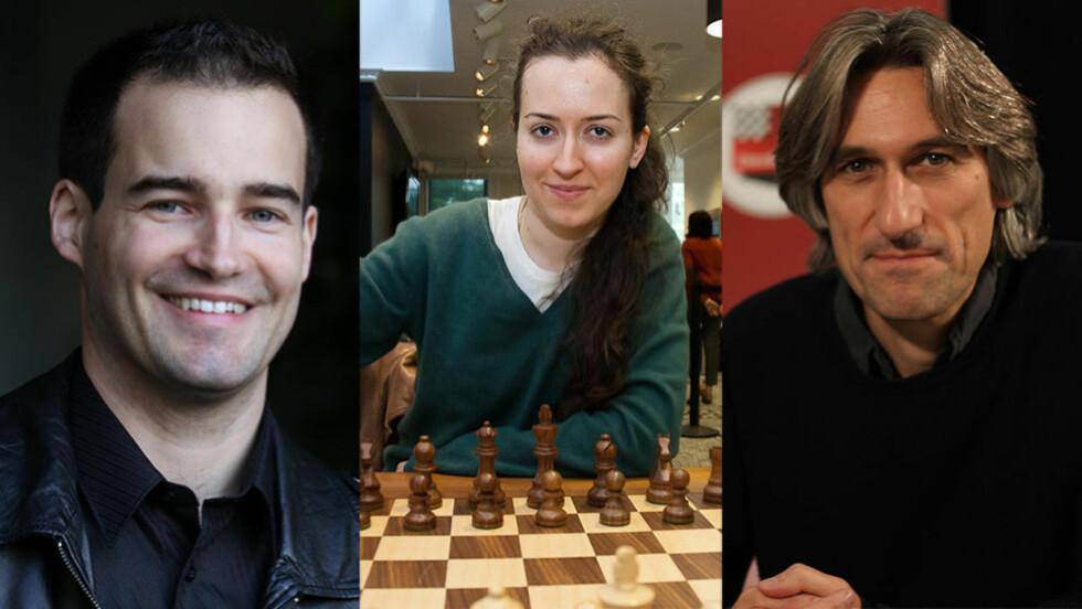 SJAKKSTJERNER: Yannick Pelletier, Irina Krush og Daniel King kommenterer sjakkpartiene under VM for Dagbladet. Foto: Chessbase / Uschesschamps.com / Tony Rich