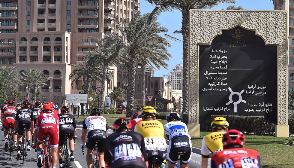 QATAR: Som et slags prøve-VM ble Pearl-øyen forsert fire ganger under en av etappen i Tour of Qatar tidligere i år. Foto: Tim de Waele (©TDWSport.com)