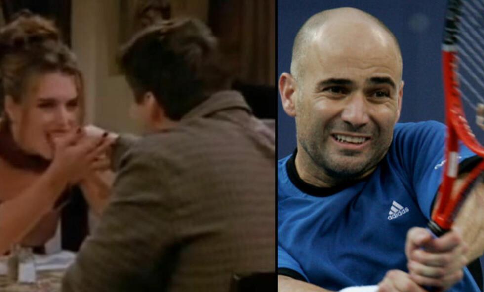 SÅ RØDT:Tennisspilleren Andre Agassi ble så forbanna etter denne Friends-scena at han knuste alle trofeene sine. Grunnen var at kjæresten fikk ham til å se ut som en idiot. Foto: NTB Scanpix