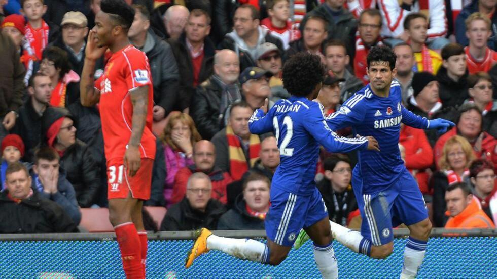 MATCHVINNER: Premier Leagues toppscorer innfridde igjen. Diego Costa ble matchvinner på Anfield med sin 2-1-scoring. Costa står nå med ti mål på ti kamper. Foto: EPA/PETER POWELL