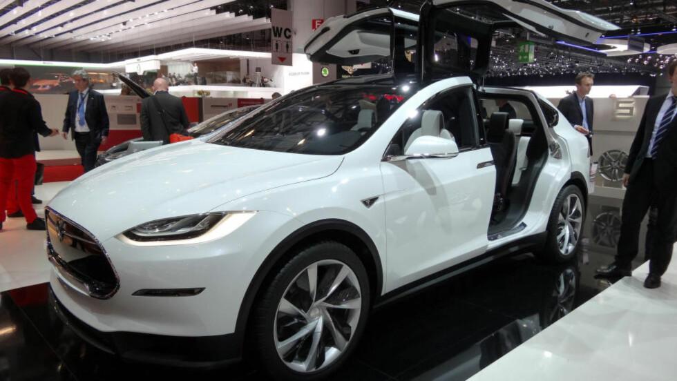 FLAKSER MED VINGENE: De såkalte måkevingedørene er omstridt, men Tesla.-sjefen Elon Musk hevder at de skal være mulig å åpne i en garasje. Problemet er høyden - og mulighet for skiboks... Foto: FRED MAGNE SKILLEBÆK / DINSIDE.NO