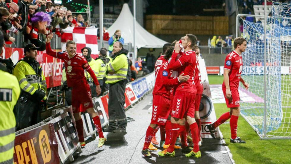 ENDELIG OPPTUR:  Seieren mot Haugesund søndag ga Brann en ny sjanse til å få spille videre i Tippeligaen. Nå kan bergenserne også vinne Klubben i mitt hjerte. FOTO: Jan Kåre Ness / NTB scanpix.