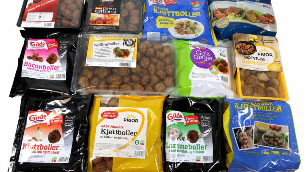 SALT OG FETT : Det er stor forskjell på hva ferdig-kjøttbollene inneholder. Noen har bra med kjøtt, andre ikke. Samtlige av kjøttbollene i denne testen inneholder mer salt enn ønskelig. Foto: ERIK HELGENESET