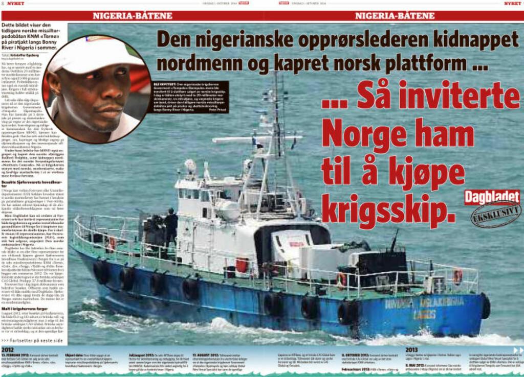 MYSTISKE BESØK: 1. oktober kunne Dagbladet avsløre hvordan Forsvaret hadde invitert nigerianske paramilitære for å kjøpe krigsskip. Faksimile: Dagbladet
