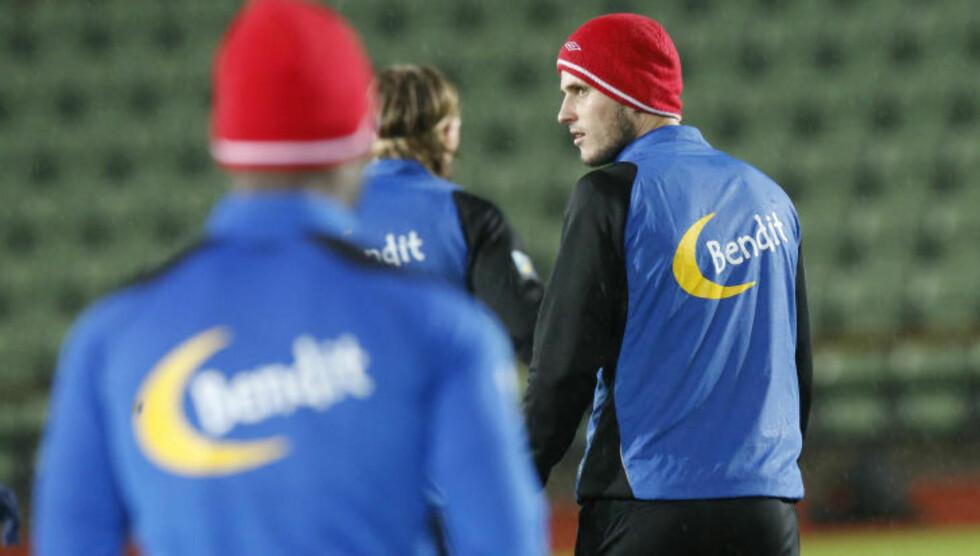 I OSLO:  Håvard Nordtveit og landslaget trente på Bislett i går kveld. Foto: Terje Bendiksby / NTB scanpix